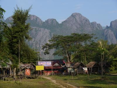Riverside bars in Vang Vieng
