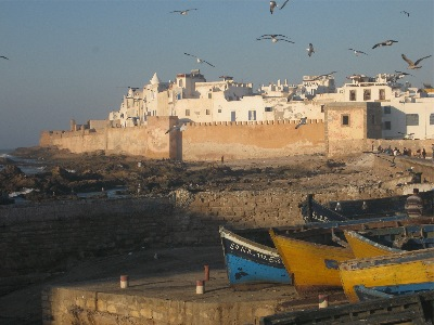Essaouira's medina walls seen from the harbor