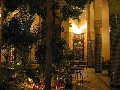 Courtyard of our hotel in Fès, the Riad Louna