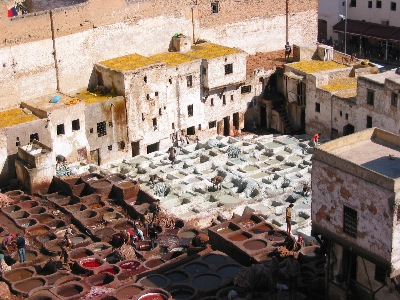 Leather tanning vats in Fès