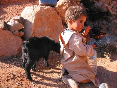 Berber boy in his family's winter quarter